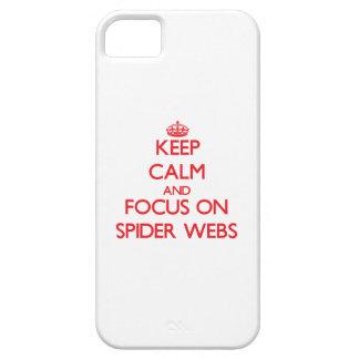 Guarde la calma y el foco en los Web de araña iPhone 5 Coberturas