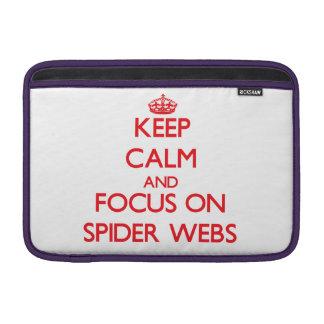 Guarde la calma y el foco en los Web de araña Fundas Para Macbook Air