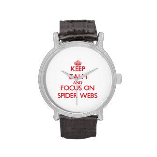Guarde la calma y el foco en los Web de araña Relojes De Mano