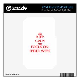 Guarde la calma y el foco en los Web de araña iPod Touch 3G Skin