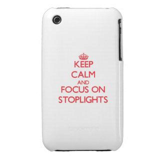 Guarde la calma y el foco en luces de parada iPhone 3 protectores