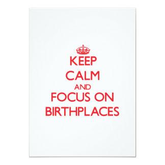 """Guarde la calma y el foco en lugares de nacimiento invitación 5"""" x 7"""""""