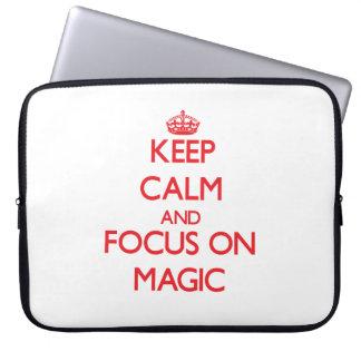 Guarde la calma y el foco en magia funda ordendadores