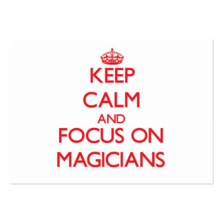 Guarde la calma y el foco en magos tarjeta de visita