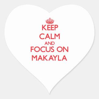 Guarde la calma y el foco en Makayla Colcomanias De Corazon Personalizadas