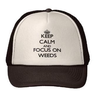 Guarde la calma y el foco en malas hierbas gorras de camionero