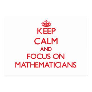 Guarde la calma y el foco en matemáticos tarjeta de visita