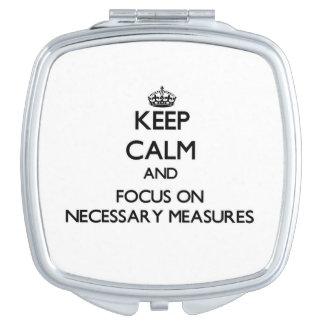 Guarde la calma y el foco en medidas necesarias espejos de maquillaje