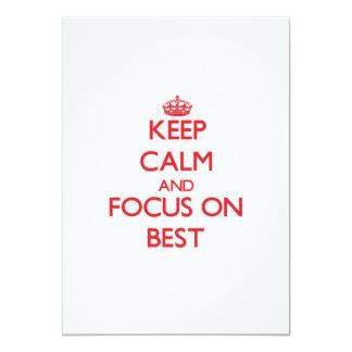 """Guarde la calma y el foco en mejor invitación 5"""" x 7"""""""