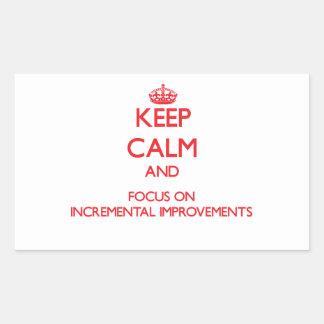 Guarde la calma y el foco en mejoras ampliadas rectangular pegatinas