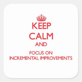 Guarde la calma y el foco en mejoras ampliadas pegatina cuadradas