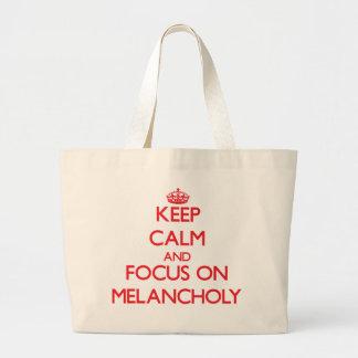 Guarde la calma y el foco en melancolía bolsa de mano