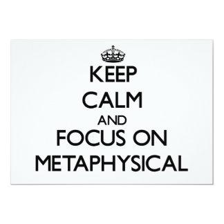 Guarde la calma y el foco en metafísico invitación 12,7 x 17,8 cm