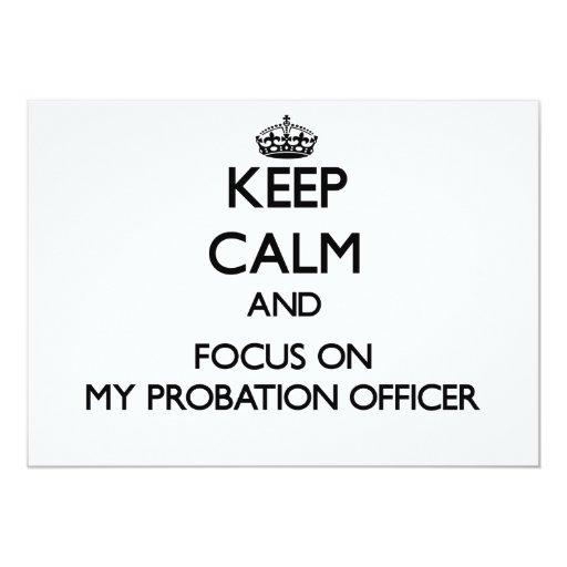 """Guarde la calma y el foco en mi agencia de invitación 5"""" x 7"""""""