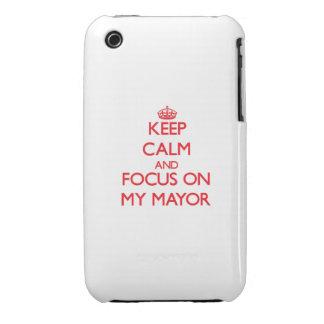 Guarde la calma y el foco en mi alcalde iPhone 3 cárcasa