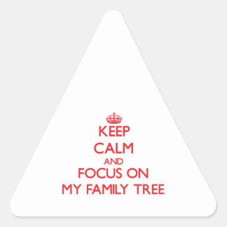 Guarde la calma y el foco en mi árbol de familia colcomanias triangulo personalizadas