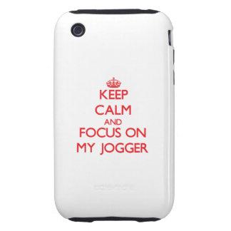 Guarde la calma y el foco en mi basculador tough iPhone 3 coberturas