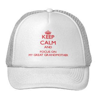 Guarde la calma y el foco en mi bisabuela gorras de camionero