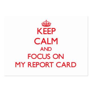 Guarde la calma y el foco en mi boletín de notas tarjetas de visita
