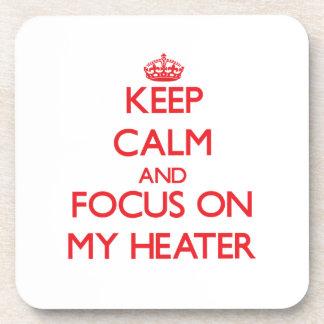 Guarde la calma y el foco en mi calentador posavaso