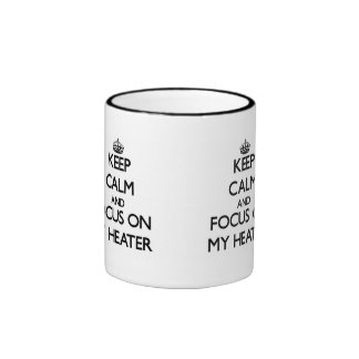 Guarde la calma y el foco en mi calentador tazas de café