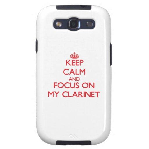 Guarde la calma y el foco en mi Clarinet Galaxy S3 Cárcasas