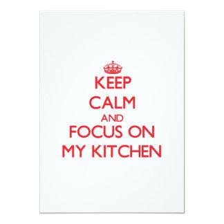 """Guarde la calma y el foco en mi cocina invitación 5"""" x 7"""""""