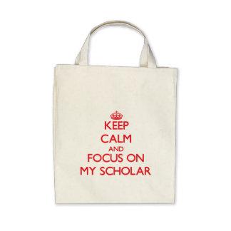 Guarde la calma y el foco en mi escolar bolsas