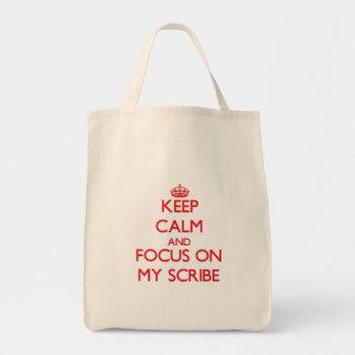 Guarde la calma y el foco en mi escribano bolsas