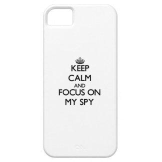 Guarde la calma y el foco en mi espía iPhone 5 funda