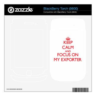 Guarde la calma y el foco en MI EXPORTADOR BlackBerry Calcomanía