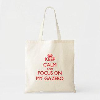 Guarde la calma y el foco en mi Gazebo Bolsa Lienzo