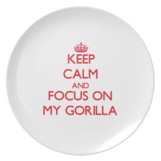Guarde la calma y el foco en mi gorila platos para fiestas