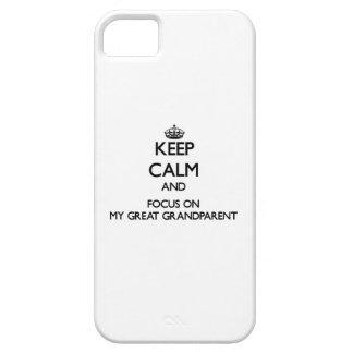 Guarde la calma y el foco en mi gran abuelo iPhone 5 fundas