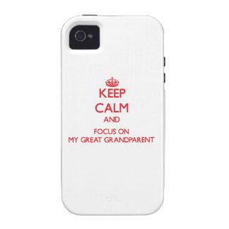 Guarde la calma y el foco en mi gran abuelo iPhone 4/4S carcasa