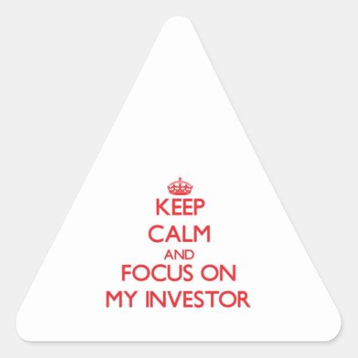 Guarde la calma y el foco en mi inversor pegatinas trianguloes