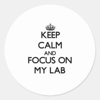 Guarde la calma y el foco en mi laboratorio etiqueta redonda