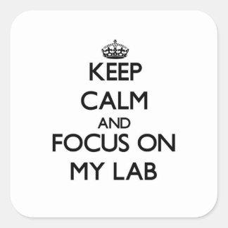 Guarde la calma y el foco en mi laboratorio pegatina cuadradas