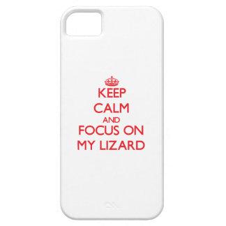 Guarde la calma y el foco en mi lagarto iPhone 5 cárcasas