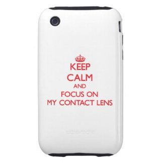 Guarde la calma y el foco en mi lente de contacto iPhone 3 tough protectores
