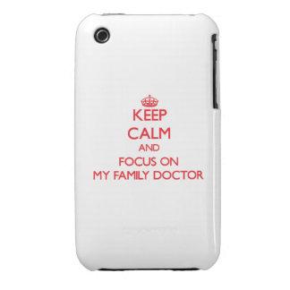 Guarde la calma y el foco en mi médico de cabecera iPhone 3 fundas