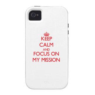 Guarde la calma y el foco en mi misión iPhone 4/4S funda