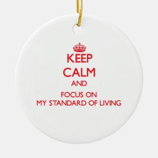 Guarde la calma y el foco en mi nivel de vida ornamento de navidad