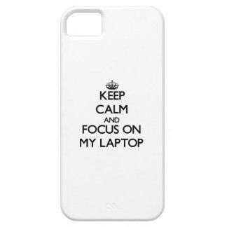 Guarde la calma y el foco en mi ordenador portátil iPhone 5 cárcasas