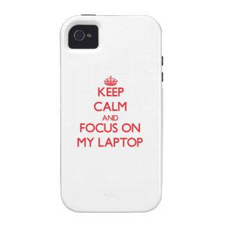 Guarde la calma y el foco en mi ordenador portátil vibe iPhone 4 funda