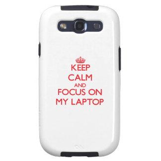 Guarde la calma y el foco en mi ordenador portátil samsung galaxy s3 cobertura