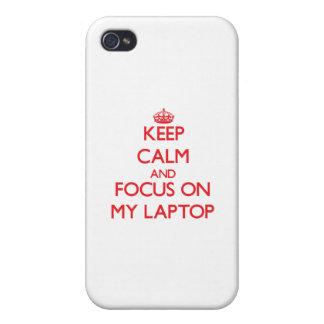 Guarde la calma y el foco en mi ordenador portátil iPhone 4/4S carcasas