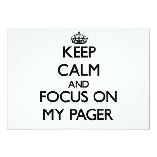 """Guarde la calma y el foco en mi paginador invitación 5"""" x 7"""""""