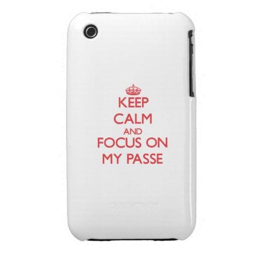 Guarde la calma y el foco en mi Passe iPhone 3 Case-Mate Cárcasa