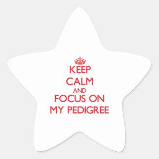 Guarde la calma y el foco en mi pedigrí colcomanias forma de estrellaes